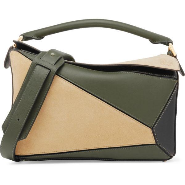 c375a5b037 LOEWE Sac porté épaule en daim et en cuir color-block Puzzle ...
