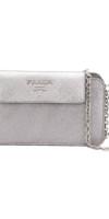 PRADA  metallic logo clutch bag