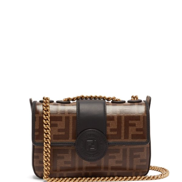 089f7ef776d2 FENDI Double F leather mini baguette bag
